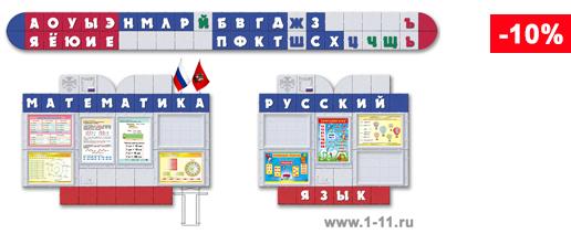 Стендовая композиция для начальных классов с лентой букв (Алфавит) на боковой стене кабинета